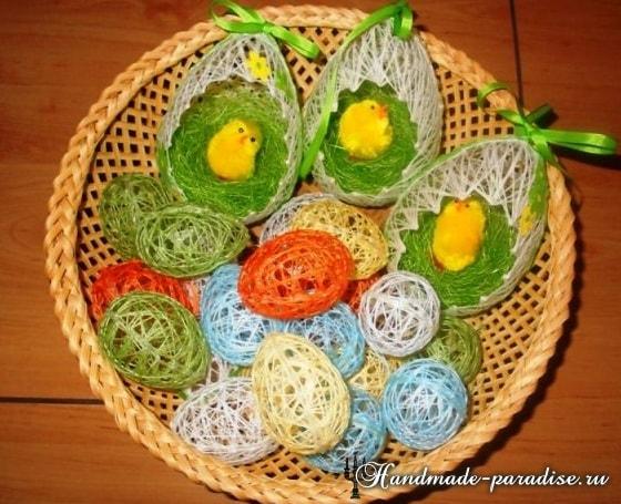 Декоративные пасхальные яйца из ниток (2)