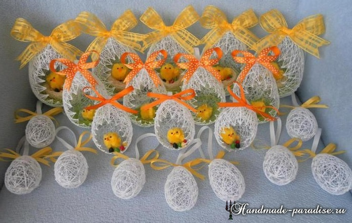Декоративные пасхальные яйца из ниток (3)