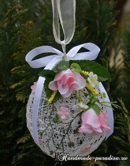 Декоративные пасхальные яйца из ниток (4)