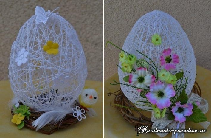 Декоративные пасхальные яйца из ниток (5)