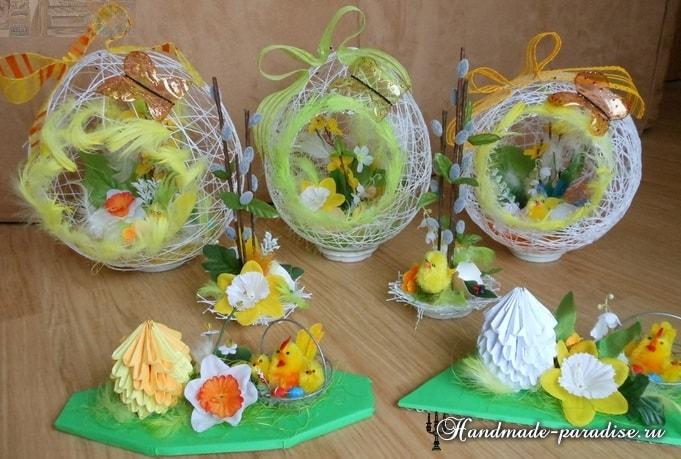 Декоративные пасхальные яйца из ниток (8)