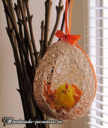 Декоративные пасхальные яйца из ниток (9)