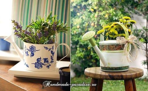 Декупаж садовой лейки для украшения сада (2)