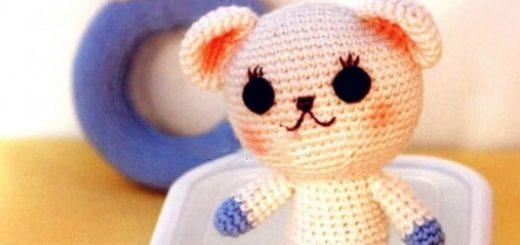 Детские игрушки крючком - медвежонок и погремушка