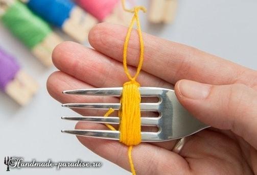 Как сделать кисточку из ниток мулине (5)