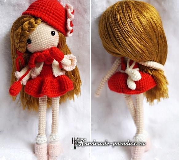 Как сделать волосы куколке амигуруми (5)