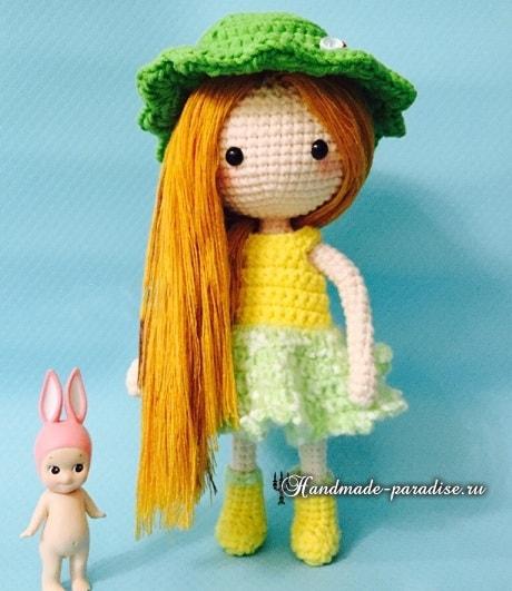 Как сделать волосы куколке амигуруми (6)