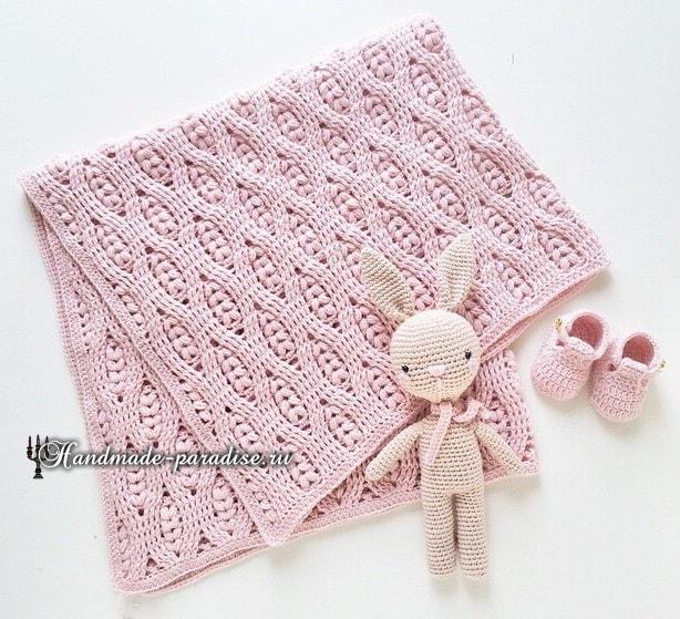 Колосок - узор для вязания детского пледа (5)