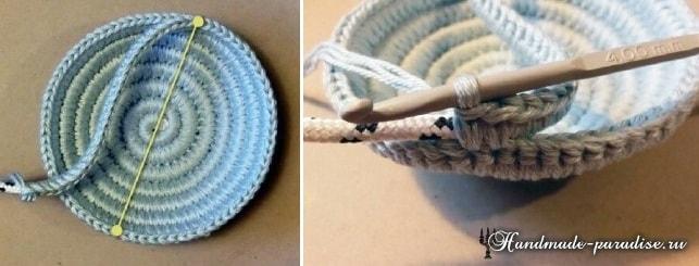 Корзинка из веревки с обвязкой крючком (11)