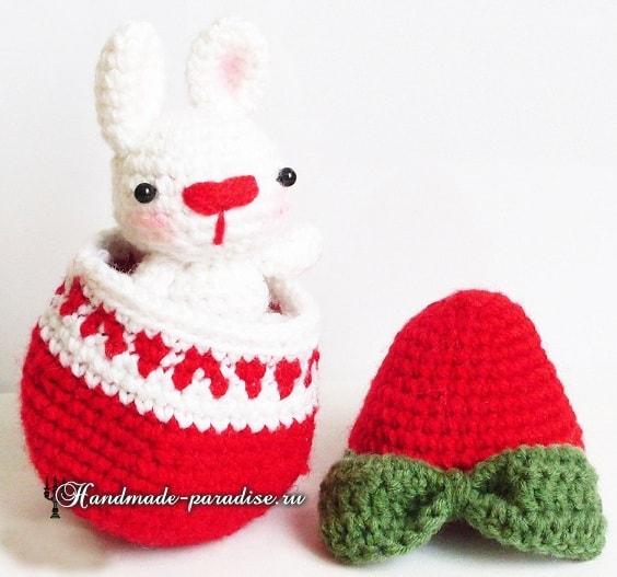 Кролик в пасхальном яйце амигуруми (1)