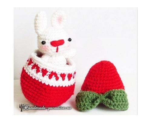 Кролик в пасхальном яйце амигуруми (2)