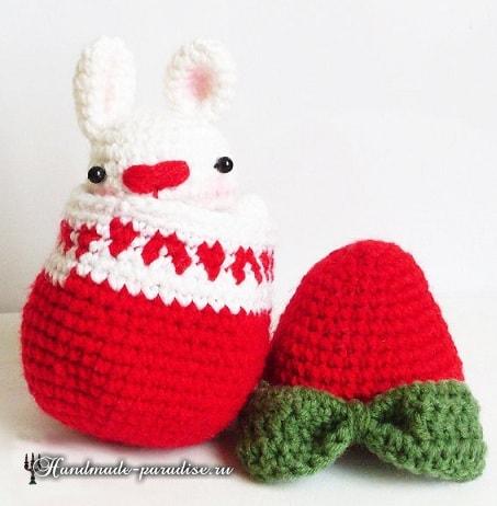Кролик в пасхальном яйце амигуруми (3)