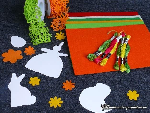 Кролики - пасхальные украшения из фетра (12)