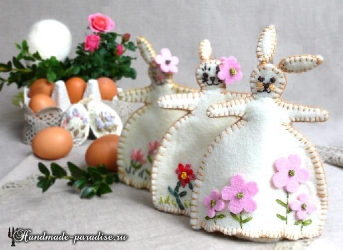 Кролики - пасхальные украшения из фетра (14)