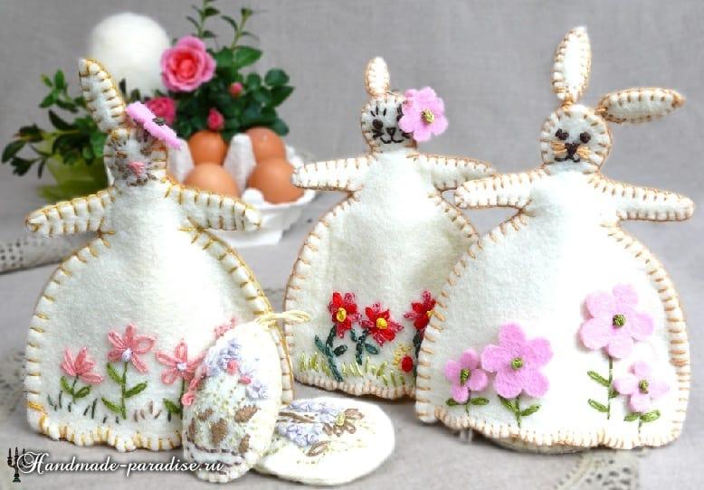 Кролики - пасхальные украшения из фетра (15)