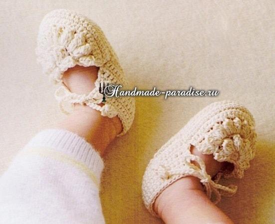 Пинетки - туфельки крючком для малыша (3)