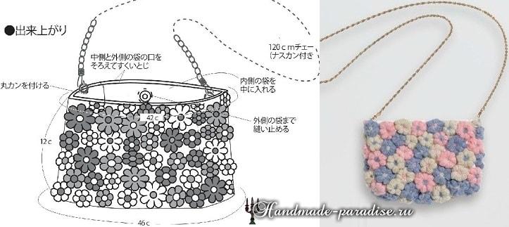 Декор сумочки цветочками из пышных столбиков (3)