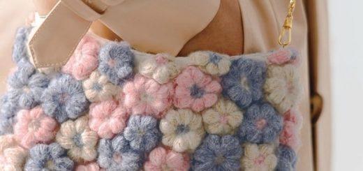 Сумочка крючком с цветочками из пышных столбиков