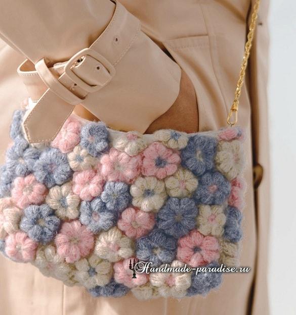Декор сумочки цветочками из пышных столбиков (6)