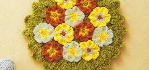 Цветочные сидушки и коврики крючком. Схемы