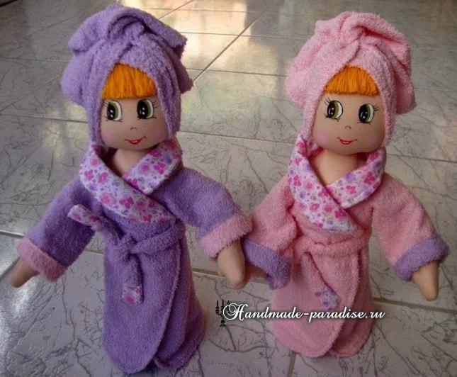 Текстильная кукла в банном халате. Выкрйка (3)