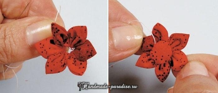 Текстильные бусы с цветами своими руками (9)