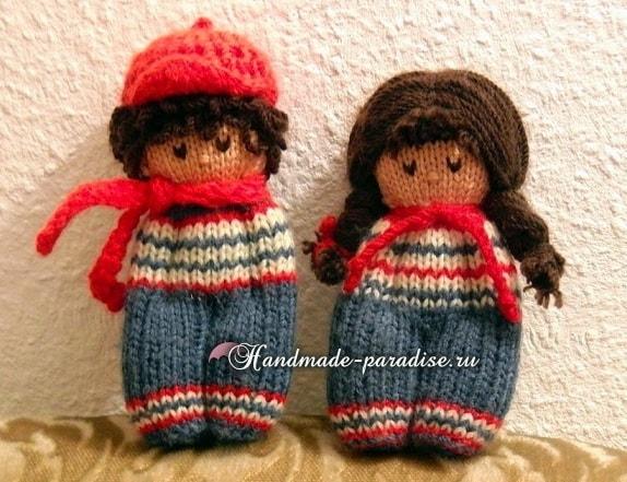 Вязание спицами куколки примитива