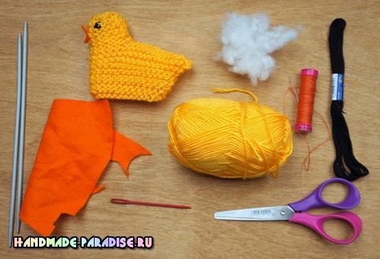Вязание спицами пасхального цыпленка (1)