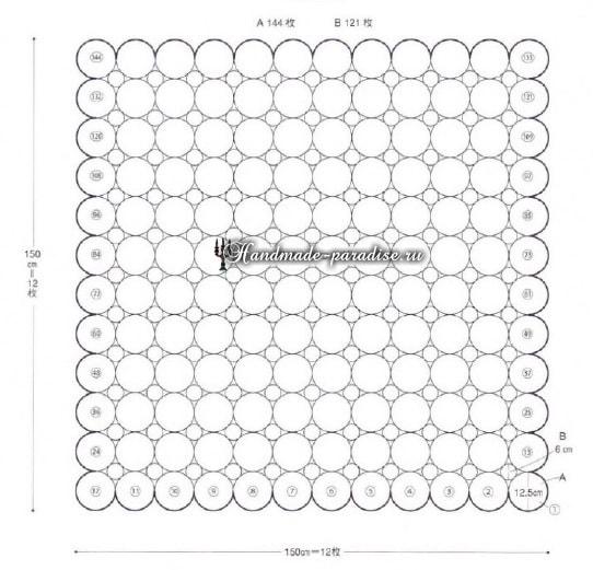 Ажурное покрывало крючком из круглых мотивов (7)