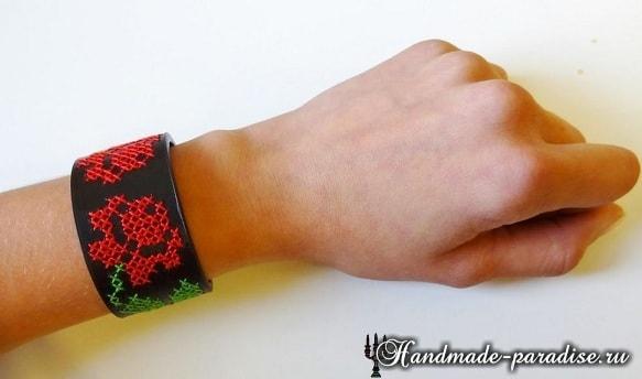 Браслет из кожи с вышивкой своими руками (2)