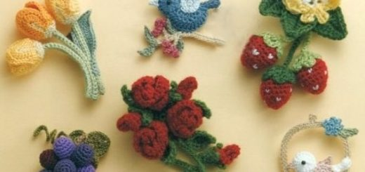 Букетики цветов. Вязаные крючком украшения