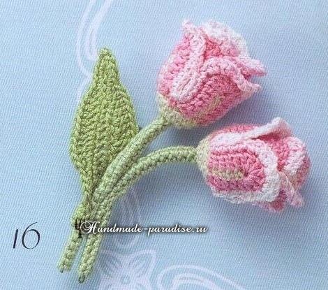 Миниатюрные букетики крючком. Тюльпаны и ландыши (12)