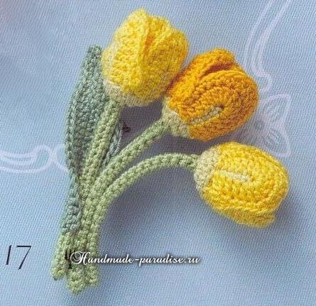 Миниатюрные букетики крючком. Тюльпаны и ландыши (13)