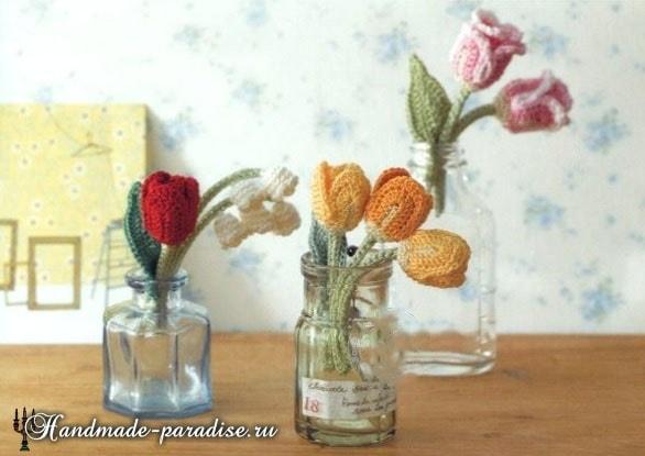 Миниатюрные букетики крючком. Тюльпаны и ландыши (3)