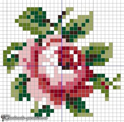 Подушка в форме сердца с вышивкой розы (2)