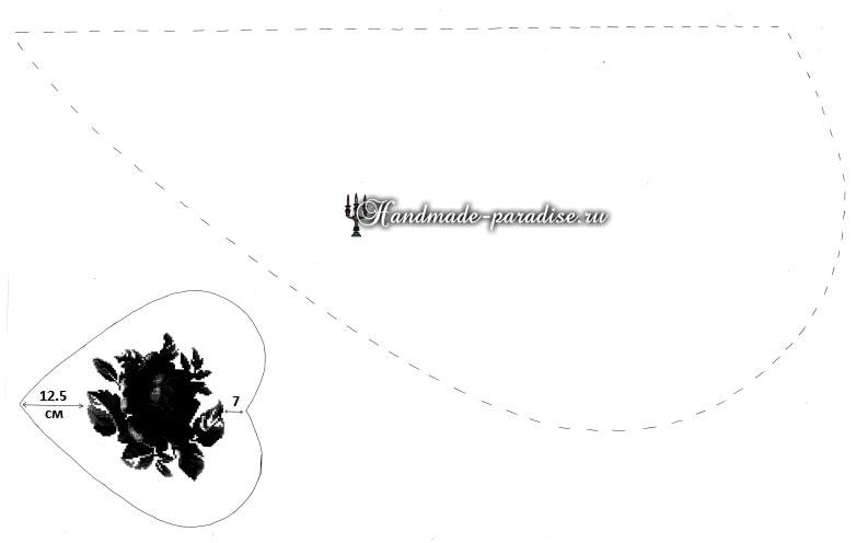 Подушка в форме сердца с вышивкой розы (4)