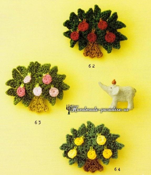 Птички и цветущие деревья крючком. Схемы
