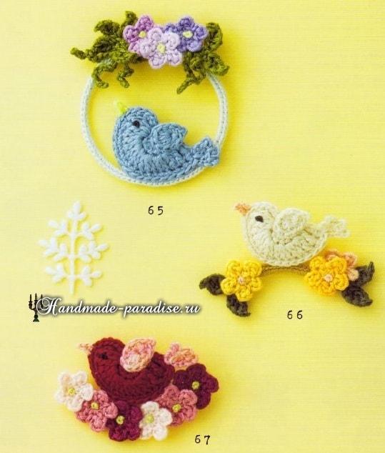 Птички и цветущие деревья крючком. Схемы (2)