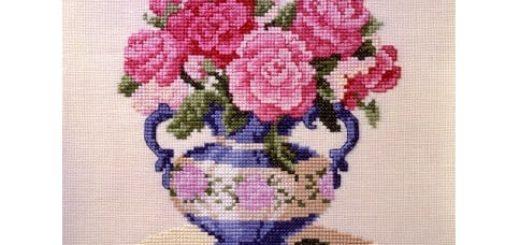 Ваза с розами. Схемы вышивки крестом
