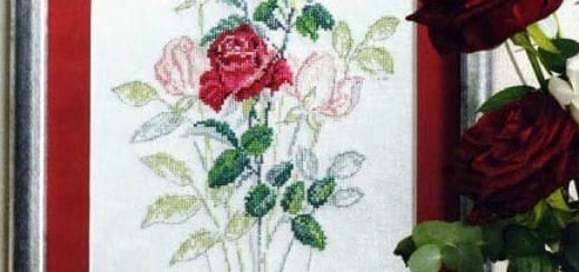 Воздушные розы. Схема вышивки крестом