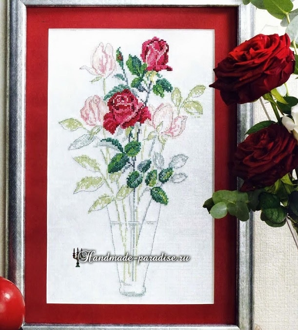 Воздушные розы. Схема вышивки крестом (2)
