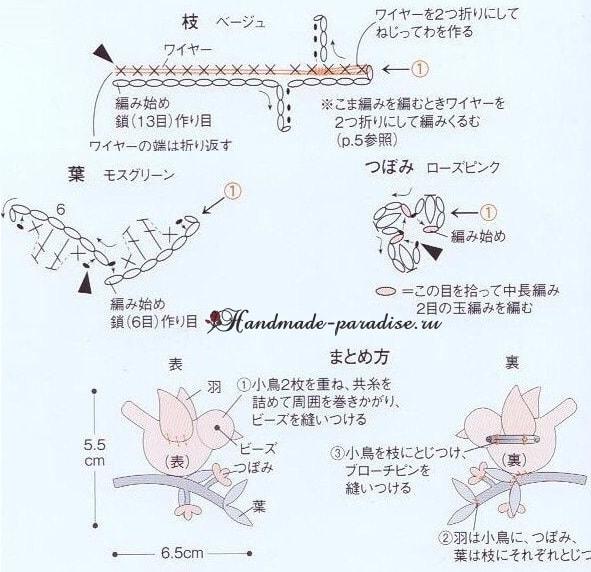 Вяжем птичку крючком - на веточке и в клеточке (2)