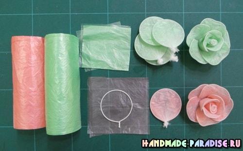 Цветы из полиэтиленовых пакетов (9)