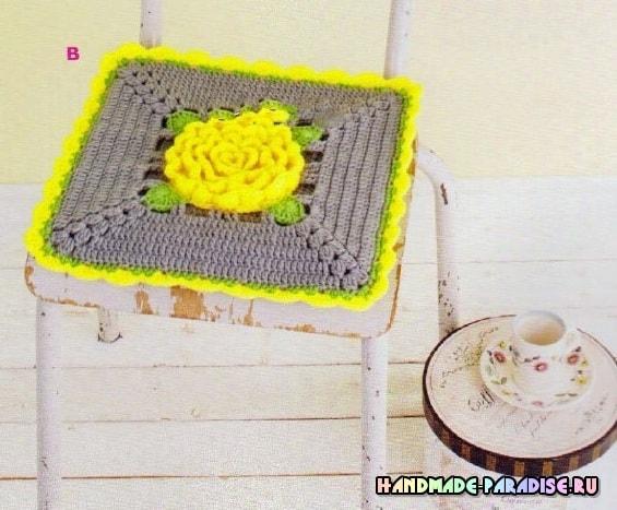 Декоративные сидушки для стула крючком. Схемы (4)