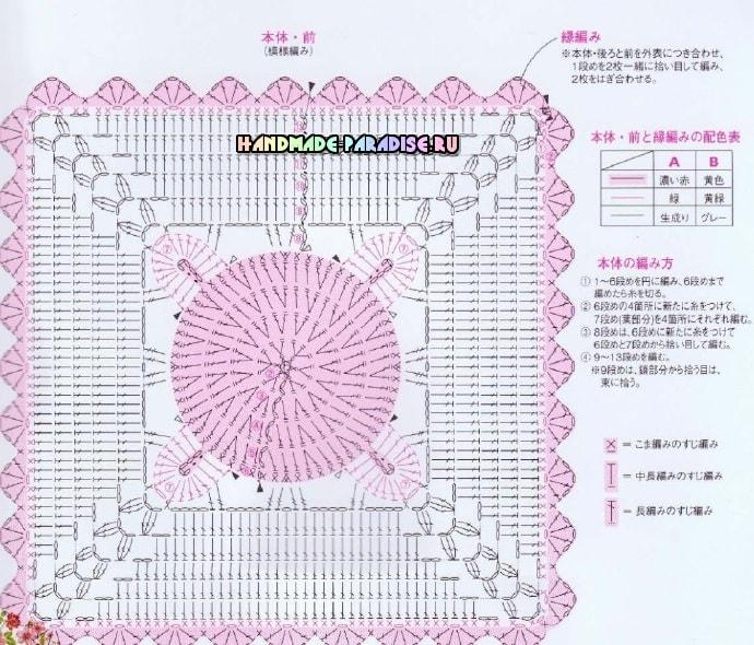 Схема вязания крючком сидушку