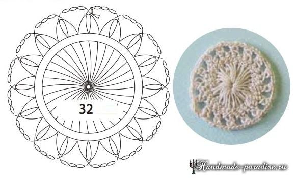 Цветы крючком. Вязание на вилке (3)