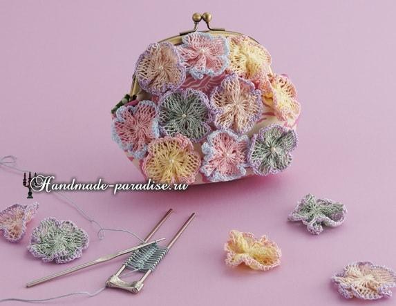 Цветы крючком. Вязание на вилке (6)
