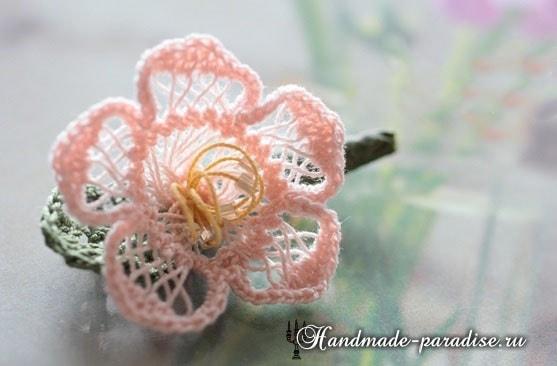 Цветы крючком. Вязание на вилке (7)