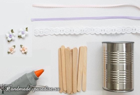 Вазочки из банок и палочек от мороженого (3)