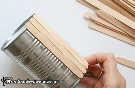 Вазочки из банок и палочек от мороженого (4)